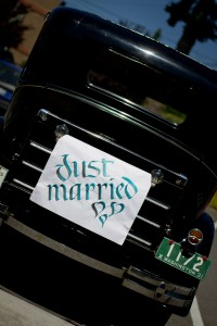 Just married on old car2